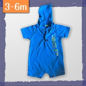 Cotton hooded shorts romper - 3-6m by Hurley